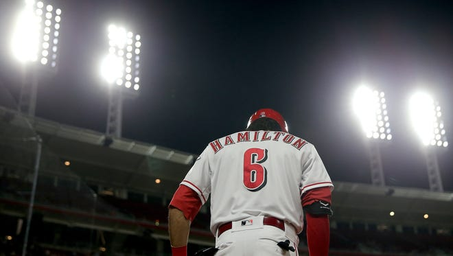 Cincinnati Reds center fielder Billy Hamilton (6) in the on-deck circle in the sixth inning during a National League baseball game between the New York Mets and the Cincinnati Reds, Monday, May 7, 2018, at Great American Ball Park in Cincinnati.
