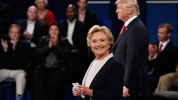 Hillary Clinton smiles during the second presidential
