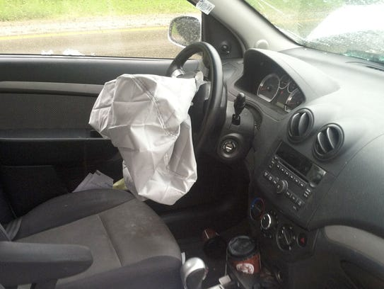 The airbag deployed on a 2009 Chevrolet Aveo following a crash in western Michigan in June 2013.