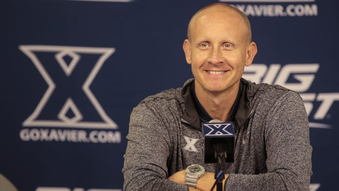The Enquirer/Kareem Elgazzar Coach Chris Mack said he was pleased with his team?s effort against Georgia. Xavier university head basketball coach Chris Mack takes questions from the media, Wednesday, Nov. 2, 2016, at Xavier University's Cintas Center in Cincinnati.