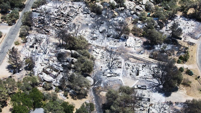 An aerial photo of Yarnell in the aftermath of the Yarnell Hill Fire, as seen on July 3, 2013.