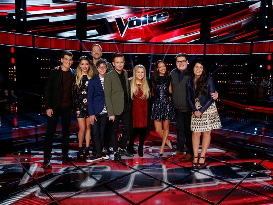 """The Voice"" Top 9 consists of (from left) Zach Seabaugh, Emily Ann Roberts, Barrett Baber, Braiden Sunshine, Jeffery Austin, Shelby Brown, Amy Vachal, Jordan Smith and Madi Davis."