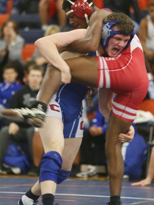 North Rockland  and Carmel in the final round of wrestling action at Horace Greeley High School in Chappaqua Dec. 3, 2016.