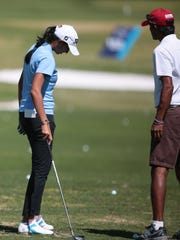 Aditi Ashok, of India, on the driving range at the ANA Inspiration on Tuessday, March 28, 2017 .