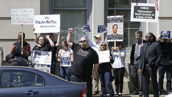 A demonstration in Raleigh, N.C., on April 11, 2016.