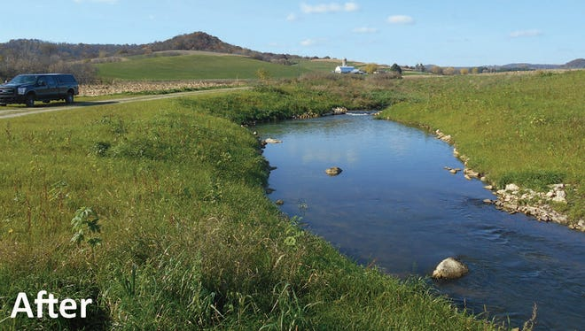 """A stream in Wisconsin's """"Driftless"""" area after a restoration project."""