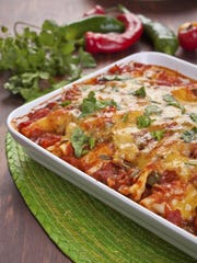 Mushrooms and zuccini added heartiness to Vegetable Cheese Enchiladas.