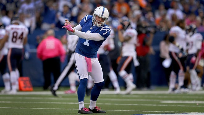 Indianapolis Colts punter Pat McAfee (1) get out his golf swing after punting his career bet 74-yard punt in the second half of their game. The Indianapolis Colts host the Chicago Bears in their NFL football game Sunday, October 9, 2016, afternoon at Lucas Oil Stadium.