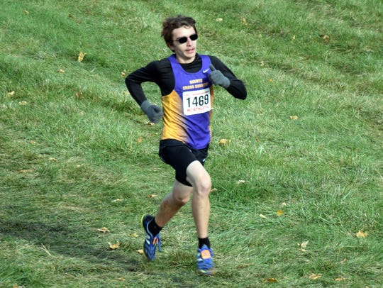 Waynesboro's Jacob Robeck heads for the finish line