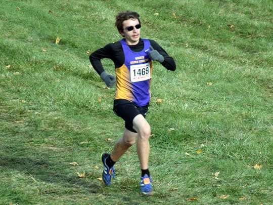 Waynesboro's Jacob Robeck heads for the finish line of the Class 3 boys race at the VHSL cross country championships on Saturday, Nov. 11, 2017, at Great Meadow in The Plains, Va. The sophomore finished fourth to earn all-state honors.