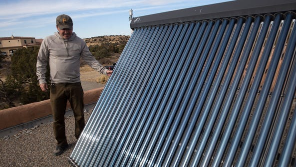 Mike Eisenfeld talks about his solar water heater,