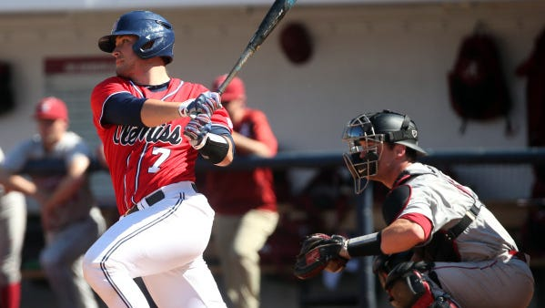 Catcher Nick Fortes leads Ole Miss with a .333 batting average this season.