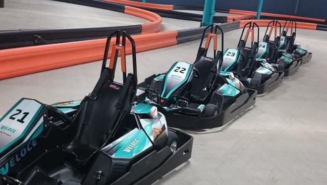 A photo of European racing karts at Veloce Indoor Speedway.