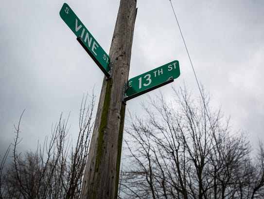 The intersection of 13th and Vine Streets where Chad