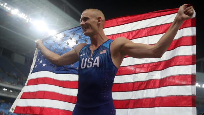 Sam Kendricks (USA) celebrates after placing third during the men's high jump final in the Rio 2016 Summer Olympic Games.