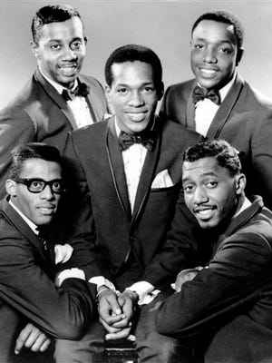 """This 1966, file photo, provided by Gordy Recording Artists, shows the Rhythm and Blues group """"The Temptations.""""  Clockwise from bottom left are David Ruffin, Melvin Franklin, Paul Williams, Otis Williams, and in the center, Eddie Kendricks. Abdul """"Duke"""" Fakir, of the Four Tops, and Otis Williams, his opposite number in The Temptations, will be renewing their rivalry for the best tunes on Broadway this winter for a seven-concert stand between Dec. 29 -Jan. 4 at the Palace Theatre, in New York."""