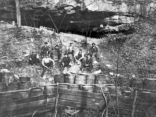 One of the photographs Sanchez found showed a bootlegging operation at the mouth to a cave.