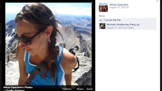 This screen shot photo of Alicia Cipicchio's Facebook page was uploaded in 2012.