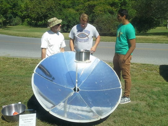 A solar oven was used to pop popcorn at Middle Spring.Watershed