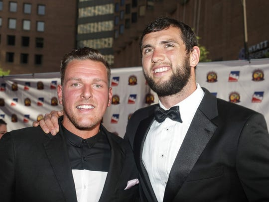 Indianapolis Colts punter Pat McAfee and Colts quarterback