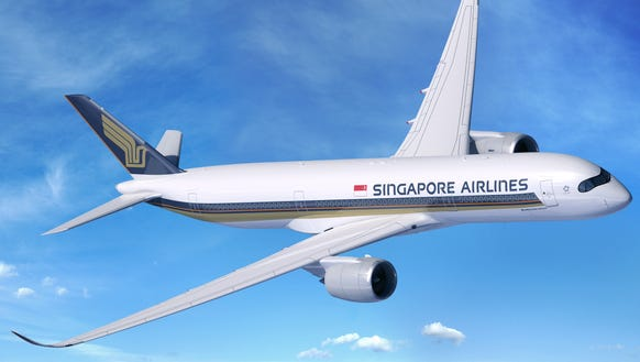 A rendering of an Airbus A350-900ULR in the colors