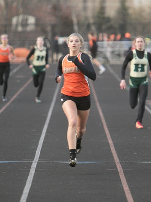 Brighton's Bryce Calka finished first by a comfortable margin in the 400-meter run during a dual meet with Howell on Tuesday, April 10, 2018.