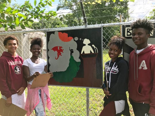 Griffin students created uplifting artwork for public display in Art Alley.