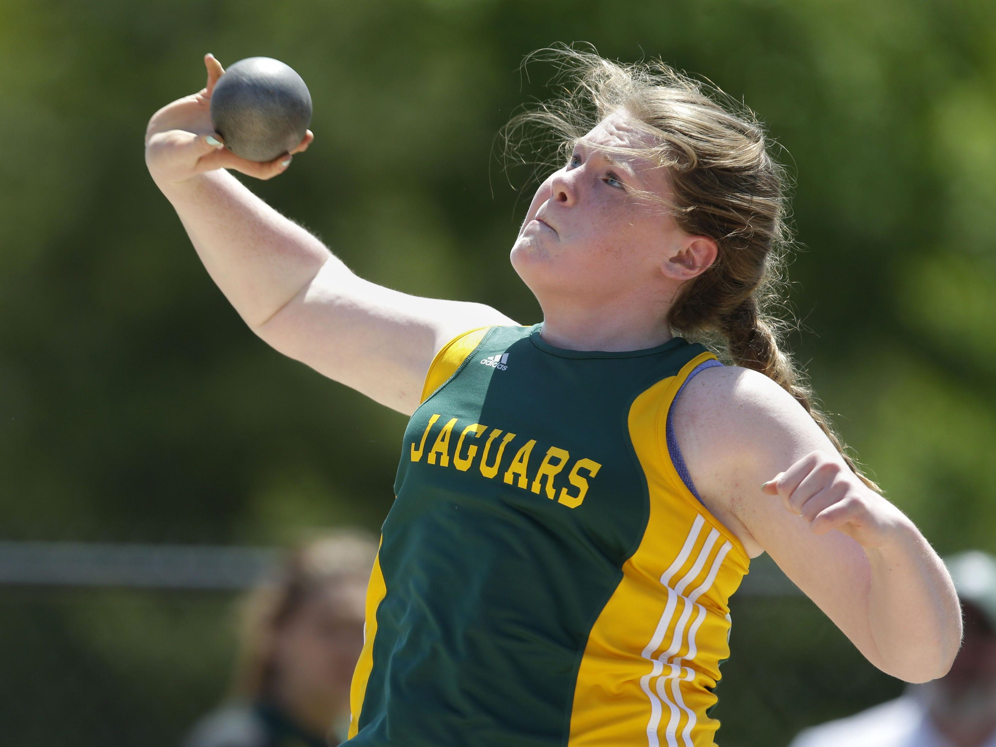 Erin Dunning of Ashwaubenon throws the Division 1 shot put at the WIAA State Track and Field Meet Saturday in La Crosse.