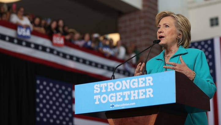 Hillary Clinton speaks during a campaign event at Truckee