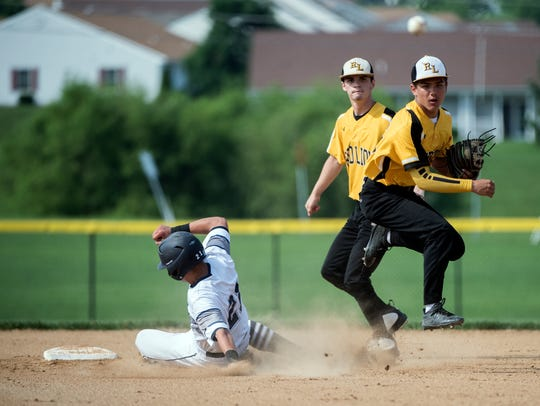 Red Lion's Cole Daugherty throws to first to complete