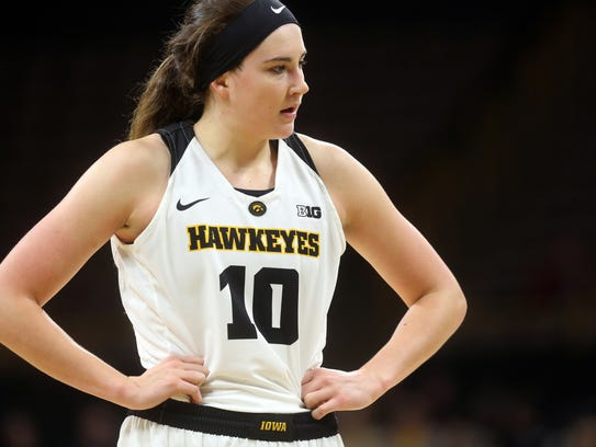 Iowa's Megan Gustafson catches her breath during the