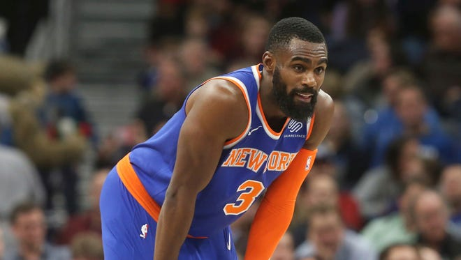 New York Knicks' Tim Hardaway Jr. returns to action after a six-week absence as the Knicks played the Minnesota Timberwolves in the second half of an NBA basketball game Friday, Jan. 12, 2018, in Minneapolis. The Timberwolves won 118-108.