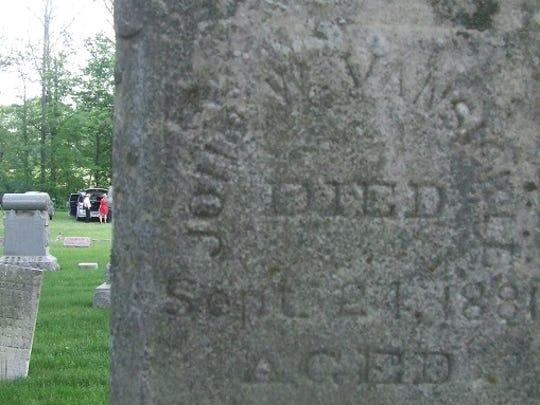 John W. Van Sickle's headstone at Thayer Cemetery.
