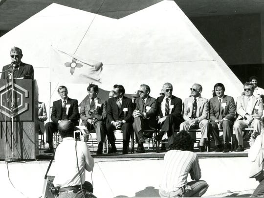 The International Space Hall of Fame hosts the 1982 induction in Alamogordo on Oct. 2, 1982. From left to right: C.S. Draper (at the podium), Glen Lunney, John Young, Dick Gordon, Jim Lovell, Gene Cernan, Buzz Aldrin, David W. King, G. Harry Stine and Dwight Ohlinger.