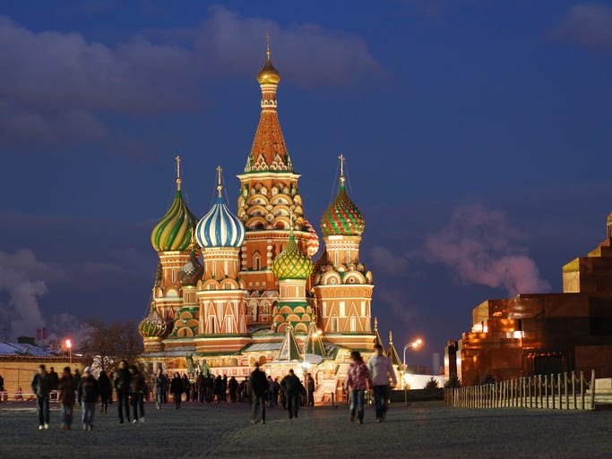Located in Moscow's Red Square, the brightly                                                          colored                                                           spires and