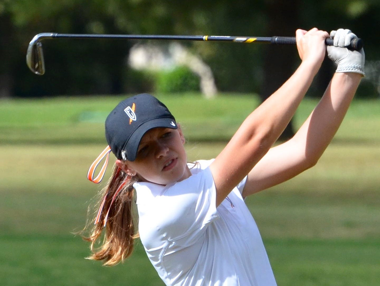 Ensworth's Corrine Parish watches her shot from the 18th fairway on Tuesday.