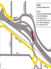 This map shows the detour that will be in place while work takes place this week on the Interstate 10 interchange at Jefferson Street.