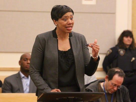 Sophia Coleman speaks before Nixon Bourguignon was