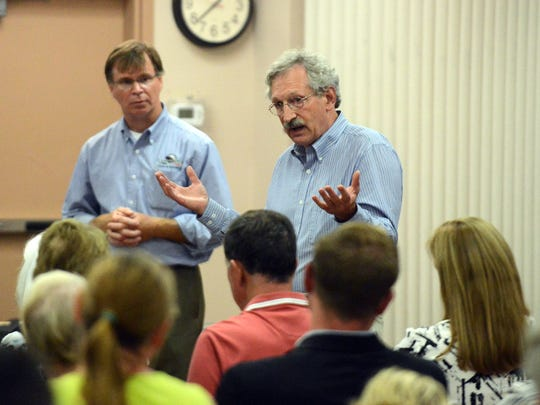 Philip Rockwood, right, speaks out against lighting Mount Pleasant during a public meeting on the proposal Wednesday night, Sept. 20, 2017, at the Olivedale Senior Center in Lancaster. Rockwood is a descendant of Philip Rising who donated Rising Park and Mount Pleasant to the city.
