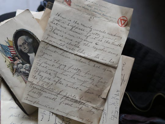 Letters sent to Ethel Mahoney during WWI are shown