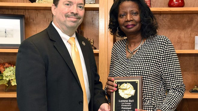 La Grange Elementary School Principal Lorene Bell is presented her award as 2020-2021 LCPS Principal of the Year by Superintendent Brent Williams.