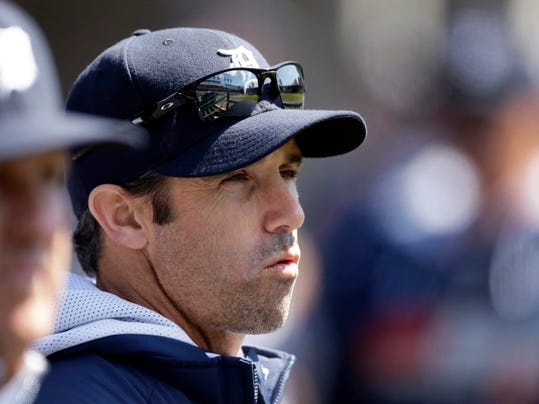 Detroit Tigers manager Brad Ausmus is seen in the dugout during the first inning of a baseball game against the Baltimore Orioles in Detroit, Saturday, April 5, 2014. With the  7-6 win, Ausmus became the first manager in more than a decade to begin his career with four straight wins, according to STATS. Clint Hurdle of Colorado and Jerry Royster of Milwaukee both did it in 2002. (AP Photo/Carlos Osorio)