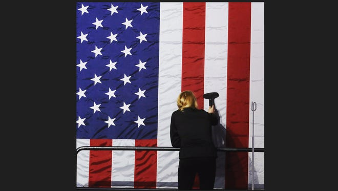 Vacuuming (or steaming the wrinkles out of the) #starsandstripes hours before #HillaryClinton will greet supporters after the polls close on #primaryday in #NewYork. #hillary2016 #americanflag @lohudDelete Comment