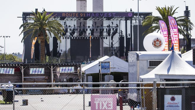 The Route 91 Harvest music festival stage near Mandalay Bay still remained on Wednesday, Oct. 4, 2017. Some shoes can still be seen on the ground.
