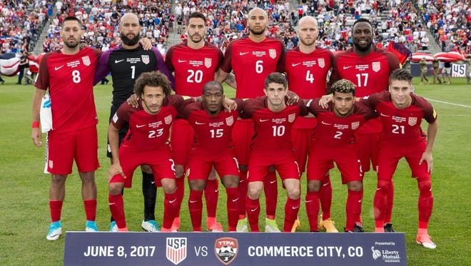 United States players pose for a photo before the match against Trinidad & Tobago at Dick's Sporting Goods Park.