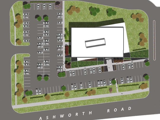 Ashworth Place, a new office building in West Des Moines, will look like two buildings laid over each other at a slightly askew angle.