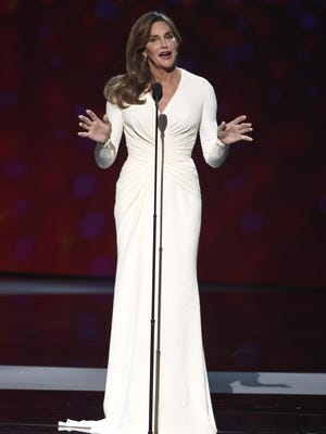 Caitlyn Jenner accepts the Arthur Ashe award for courage at the ESPY Awards at the Microsoft Theater on Wednesday, July 15, in Los Angeles.