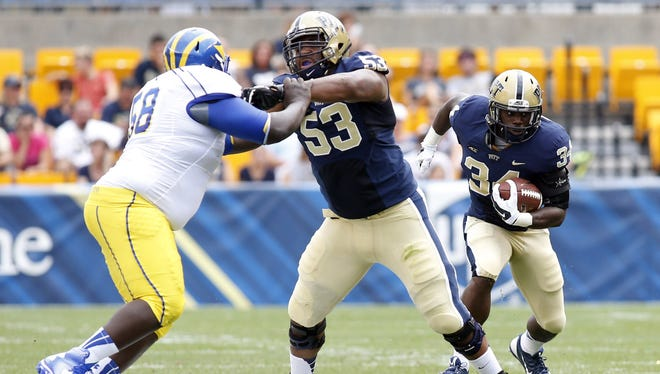 Pittsburgh Panthers offensive linesman Dorian Johnson (53) was picked up by the Arizona Cardinals in the fourth round of the NFL Draft, April 29, 2017.