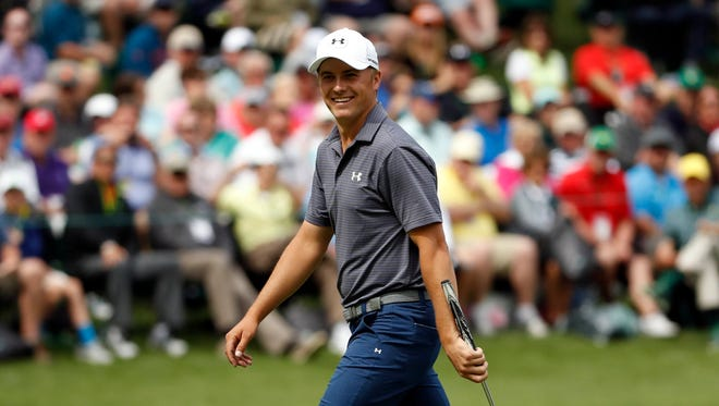 Jordan Spieth the Par 3 Contest prior to the 2016 The Masters golf tournament at Augusta National Golf Club.