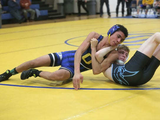 Ontario's Ty Spencer is in the process of pinning River